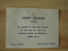 Andre Schwob Joailler Av Opera Carte Commerciale - France