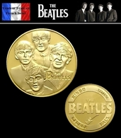 1 Pièce Plaquée OR ( GOLD Plated Coin ) - The Beatles  John Lennon, Paul McCartney, George Harrison Et Ringo Starr - Monnaies