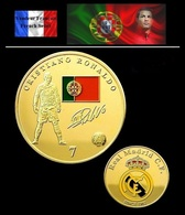 1 Pièce Plaquée OR ( GOLD Plated Coin ) - Football Cristiano Ronaldo Real Madrid - Other Coins