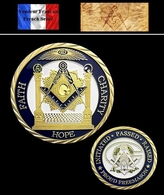 1 Pièce Plaquée OR ( GOLD Plated Coin ) - Franc Maçon Freemason Masonic ( B1 ) - Coins