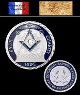 1 Pièce Plaquée ARGENT ( SILVER Plated Coin ) - Franc Maçon Freemason Masonic ( B2 ) - Other Coins