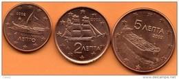 GRECE:greece 1+2+5 EURO CENT 2002 NO LETTER To The Roll / De Rouleau - Grèce