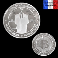 1 Pièce Plaquée ARGENT ( SILVER Plated Coin ) - Bitcoin Anonymous BTC ( Ref 2 ) - Coins