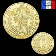 1 Pièce Plaquée OR ( GOLD Plated Coin ) - Bitcoin Anonymous BTC ( Ref 3 ) - Coins