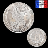 1 Pièce Plaquée ARGENT ( SILVER Plated Coin ) - Bitcoin Anonymous BTC ( Ref 4 ) - Coins
