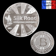 1 Pièce Plaquée ARGENT ( SILVER Plated Coin ) - Bitcoin Anonymous Silk Road BTC - Coins
