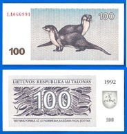 Lituanie 100 Talonas 1992 Animal Otarie Neuf Unc Que Prix + Port Litai Centas Litas Lithuania Skrill Paypal Bitcoin OK - Litauen