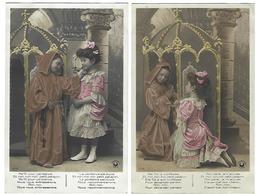 Fantaisie - Lot De 2 CPA - Série 3719 - Enfant Moine Et Fillette - 1909 - Fantaisies
