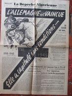 Journal La Dépêche Algérienne (8 Mai 1945) L'Allemagne Est Vaincue - Le Jour Est Venu Joseph Kessel - Autres