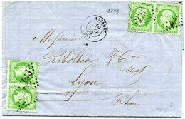 TARN De MAZAMET LAC Du 19/08/1866 Avec N°20 2 Paires Oblitéres GC 2293 - 1849-1876: Période Classique