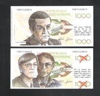 BANKBILJET 1000 F - VERKIEZINGSPROPAGANDA 1991 - TOBBACK - VERHOFSTADT - VAN ROMPUY (BB 01) - [ 8] Vals En Specimen