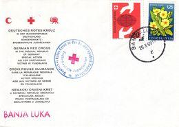 Croix Rouge - Yougoslavie - Lettre De 1969 - Oblit Banja Luka - Fleurs - - 1945-1992 République Fédérative Populaire De Yougoslavie