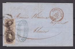 N° 6 ( 2 )  / Lettre De GOSSELIES Vers THUIN  Du 17 Aout  1856  ( Lac ) - 1851-1857 Médaillons (6/8)