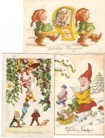 Kabouters : Gelukkig Nieuwjaar --- Vrolijk Kerstfeest  / 3 Kaarten  ( 1943-47-51) - Contes, Fables & Légendes