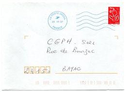 LA POSTE 26025A 2007 = FLAMME Neopost Bleue Muette '5 Lignes Ondulées' - Postmark Collection (Covers)