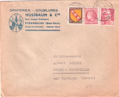 Bas Rhin :- STRASBOURG Sur Enveloppe Illustrée NUSSBAUM & Cie  DRAPERIES  DOUBLURES - Poststempel (Briefe)