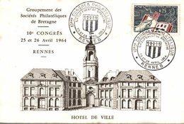 GROUPEMENT SOCIÉTÉS PHILATÉLIQUES DE BRETAGNE - 10 E CONGRES 25-26 AVRIL 1964 - Timbres (représentations)