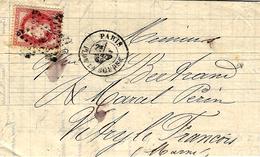 1869- Lettre De PARIS / PL. De La Bourse  Affr. N°32 SEUL Oblit.étoile Pleine - 1849-1876: Période Classique