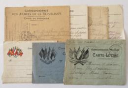 Lot De 7 Correspondances Militaires Guerre 14-18 Dont Cartes-lettres, Cartes Postales- Circulées, Certaines Avec Cachets - Marcophilie (Lettres)