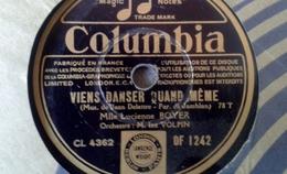 """78 Tours - DISQUE """"GRAMOPHONE"""" DF 1242 VIENS DANSER QUAND MEME ET SOLITUDE  MLLE LUCIENNE BOYER - 78 Rpm - Schellackplatten"""