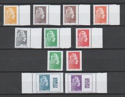 FRANCE / 2018 / Y&T N° 5248/5258 ** : Marianne L'engagée (Les 11 TP Gommés) 9 De Feuille Gommée Tous BdF & 2 Roulettes - Unused Stamps
