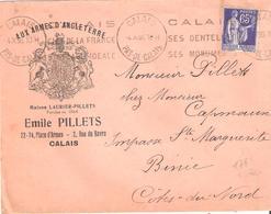 Pas De Calais :- CALAIS Flamme SES DENTELLES SES MONUMENTS Sur Enveloppe Illustrée AUX ARMES D'ANGLETERRE - Postmark Collection (Covers)
