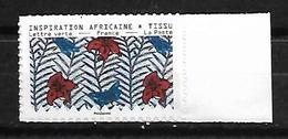France 2019 - ADHESIFS PRO - Inspiration Africaine - Tissu ** (lettre Verte) - France