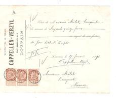 SJ68/ TP 57(3) S/reçu 75 Fr Manufacture Tabacs Cappellen-Verzyl Louvain C.Louvain 28/1/1898  M.Mélot Bourgmestre Namur - Tabac