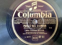 """78 Tours - DISQUE """"GRAMOPHONE"""" PARLER MOI D AMOUR ET DANS LA FUMEE PAR LUCIENNE BOYER COLUMBIA SANS POCHETTE - 78 Rpm - Schellackplatten"""