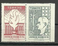 Turkey ; 1958 20th Anniv. Of The Death Of Ataturk - 1921-... République