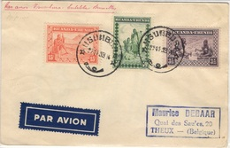 RUANDA-URUNDI 93 95 102 (o) Lettre Cover Brief Par Avion Vol Usumbura - Endebbe - Bruxelles Belgique 27 Novembre 1939 - Ruanda-Urundi