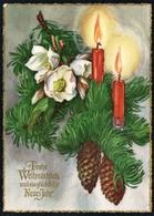 C3976 - Glückwunschkarte Weihnachten - Kerze Tannzapfen Tannenzweig - Grandiosa - Non Classificati
