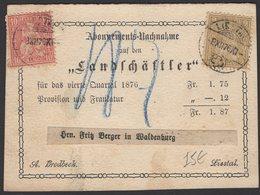 SUISSE:  Carte D'Abonnement Avec Afrt 10c +2c Hélvétia Contre Remboursement Oblt CàDate De LIESTAL  > LIESTAL - 1862-1881 Helvetia Assise (dentelés)