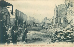 JAMAICA EARTHQUAKE DISASTER - PORT ROYAL STREET, KINGSTON - POSTED 1909 #90402 - Jamaica