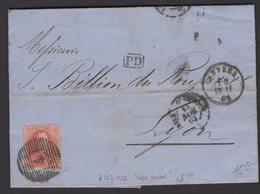 BELGIQUE: Pli De 1863 Avec 40c Rouge Dentelé 12.5 X13 Oblt Barres 4 + CàDate D'ANVERS > LYON - 1863-1864 Médaillons (13/16)