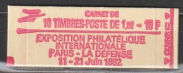 YT 2187-C2 ** 1,60F Rouge Liberté, Carnet Philex 82, Variété Texte Gras 18F Au Lieu De 16F - Errors & Oddities