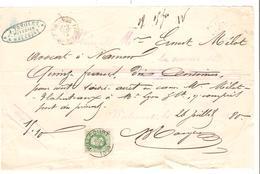 SJ73/ TP 30 S/Reçu De 15,10 Fr Rédigé à Walcourt C.26/7/1880 Pour M.Mélot Avocat à Namur - 1869-1883 Léopold II