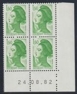 YT 2219 ** 1,60F Vert, Coin Daté 24.08.82, BP à Gauche - Variétés Et Curiosités