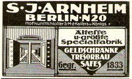 Original-Werbung/ Anzeige 1916 -GELDSCHRÄNKE / TRESORE / SAFES / ARNHEIM - BERLIN - Ca. 65 X 40 Mm - Publicités
