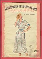 LES PATRONS DE MARIE CLAIRE VERS 1950 1960 ROBE ECOSSAISE TAILLE 44 POCHETTE COLORISEE AVEC SON CALQUE ELEGANCE DE PARIS - Patterns