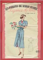 LES PATRONS DE MARIE CLAIRE VERS 1950 1960 BLOUSE TABLIER TAILLE 44 POCHETTE COLORISEE AVEC SON CALQUE ELEGANCE DE PARIS - Patterns