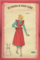 LES PATRONS DE MARIE CLAIRE VERS 1950 1960 TABLIER POCHETTE COLORISEE AVEC SON CALQUE ELEGANCE DE PARIS - Patterns