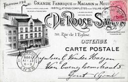 Ostende 1920 CP. De Roose-Samyn Rue De L'Eglise - Historical Documents