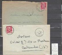 Lettre Ambulant Ax Les  Thermes à Toulouse - 2 Piéces - Marcophilie (Lettres)