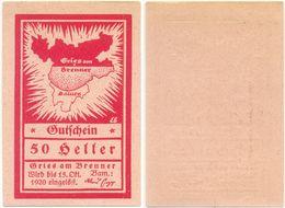 Gries Am Brenner, 1 Schein Notgeld 1920, Landkarte, Österreich 50 Heller - Oesterreich