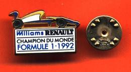 Pin's Arthus Bertrand Williams Renault  Formule 1 Champion Du Monde 1992 - Renault