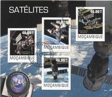 Mozambico 2014 Space Satelites Stazione Spaziale Internazionale Onibus Sheet CTO Perf. Mocambique - Mozambico