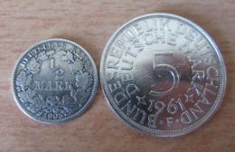 Allemagne - 2 Monnaies En Argent : 1/2 Mark 1905 E Et 5 Mark 1961 F - [11] Collections