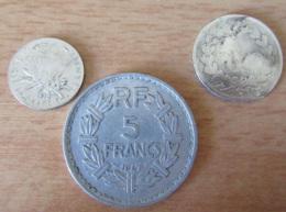 France - 3 Monnaies : 1 Franc Louis Philippe 1833 A (mauvais état), 50 Cts Semeuse 1913 Et 5 Francs Lavrillier 1947 B - France
