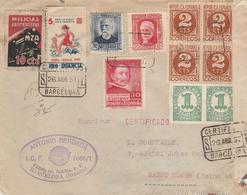 CARTA  CERTIFICADA 1937   Con Viñeta MILICIAS ANTIFASCISTAS MZA 10C     ELA 104 - 1931-Today: 2nd Rep - ... Juan Carlos I